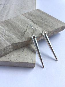 Long Silver Spike Earrings