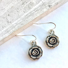 Silver Rose Bud Flower Earrings