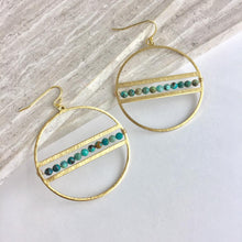 Gemstone line Hoop Earrings, turquoise