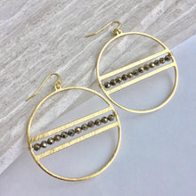 Gemstone line Hoop Earrings, pyrite