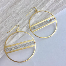 Gemstone line Hoop Earrings, labradorite