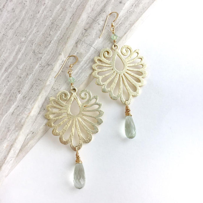 Feather Plume Earrings Green Amethyst Drop Gold