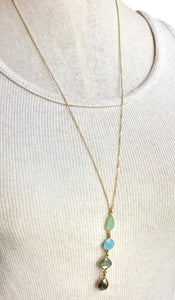 Gemstone Row Long Necklace