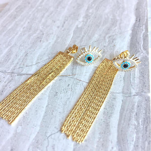 Evil Eye Studs w/ chain tassel back earrings, JPeace Designs