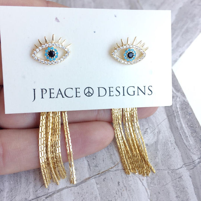Evil Eye Studs w/ chain tassel back earrings