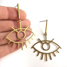 Long Lash Evil Eye Post Earrings, in hand