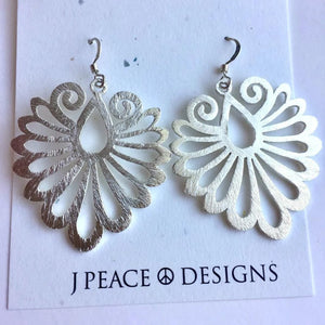 Feather Plume Earrings, silver