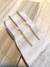 Long Brass bar w/ Pearl — Post Earrings