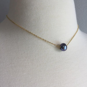 Single Genuine Pearl Necklace — Purple