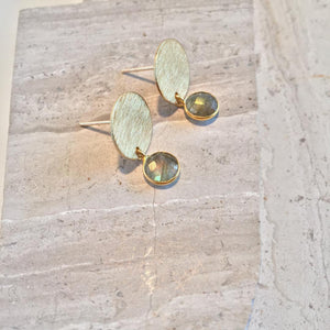 Gold Disk Labradorite Gemstone — Post Earrings