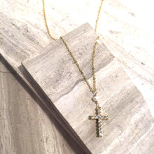 Tiny White Pearl CZ Cross Necklace — Gold