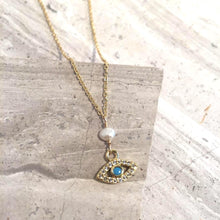 Pearl & Evil Eye Gold Necklace