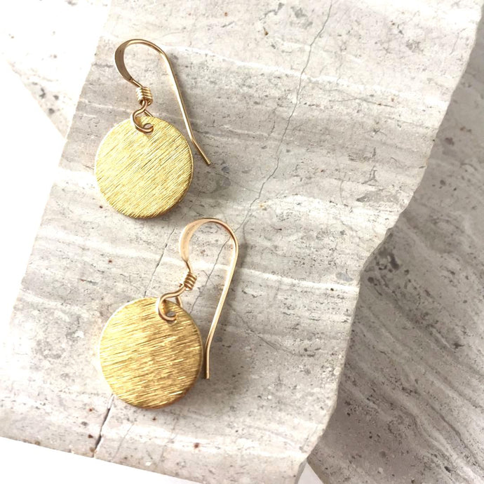 Tiny Gold disk coin Earrings