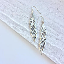 Silver Feather Charm Earrings