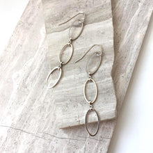 Long Oval rings Earrings — Silver