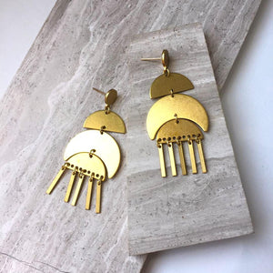 Moon phase brass fringe —post Earrings