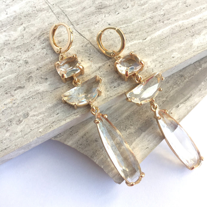 Clear glass long stone prong set Earrings
