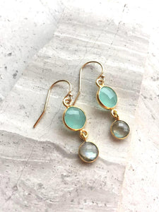 Aqua Chalcedony & Labradorite Lentil Earrings
