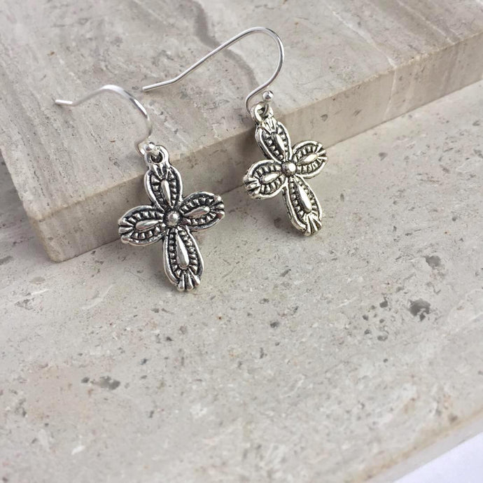 Double sided Cross Charm Earrings — Silver