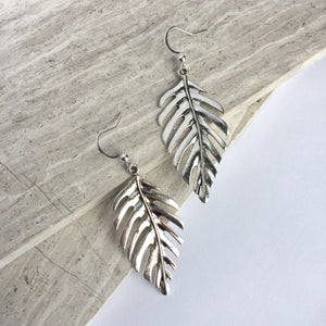 Silver Fern Leaf Earrings, JPeace Designs