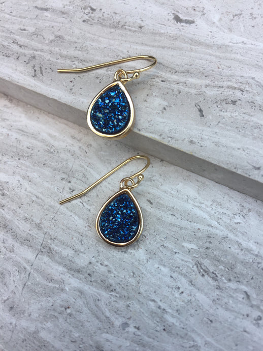 Druzy Tear Drop Earrings — Blue, gold
