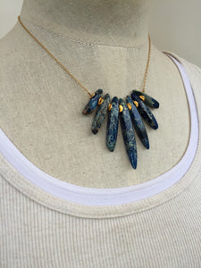 Jasper Spike Necklace, Navy gold