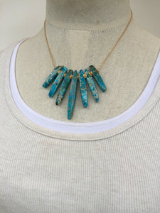 Jasper Skipe Necklace, Turquoise Gold