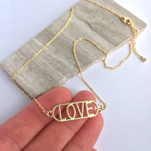 LOVE pendant — Gold Necklace
