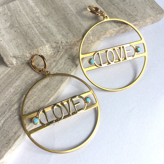 LOVE Gold Hoop / Turquoise/ Earrings