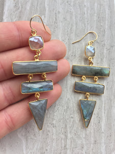Labradorite Ladder Earrings, in hand