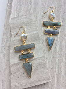 Labradorite Ladder Earrings, on tiles