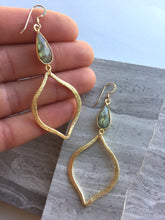 Labradorite Tulip Earrings, in hand