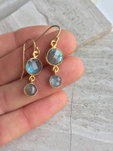 Labradorite Lentil earrings, in hand
