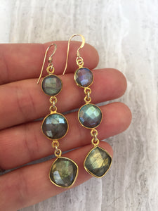 Labradorite Graduated Stone Earrings, gold