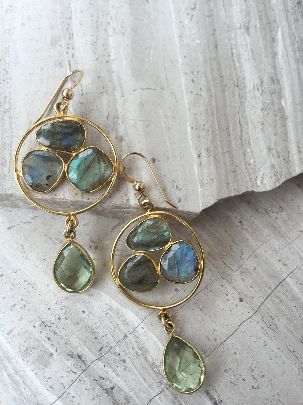 Labradorite Trio Earrings, gold