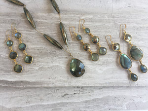 Pyrite & Labradorite Mystic Necklace, Pyrite & Labradorite earrings, Pyrite & Labradorite Graduated earrings, Labradorite Graduated earrings