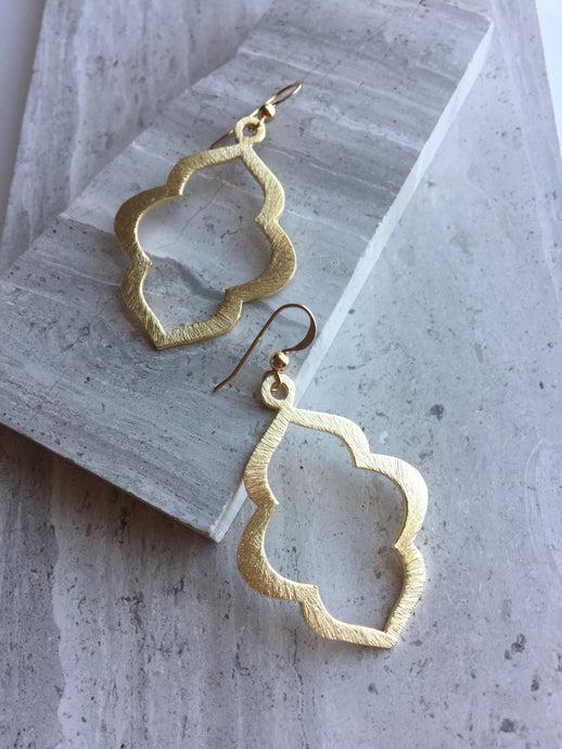 Lantern Earrings, gold, medium size