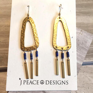 Hammered Hoop & Lapis Fringe Earrings