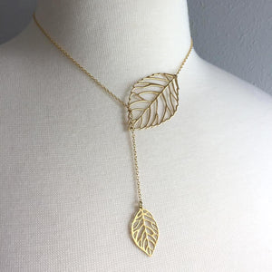 Brass leaves Natural Lariat Necklace