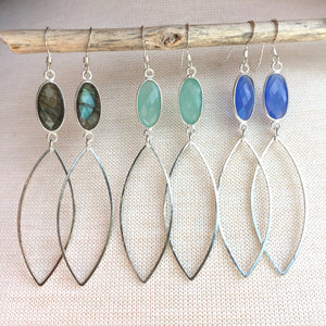 Long Gemstone Marquise Hoop Sterling Earrings (All gemstone choices)