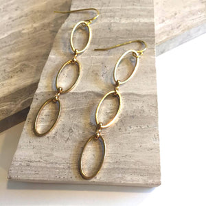 Long Oval rings Earrings — Gold