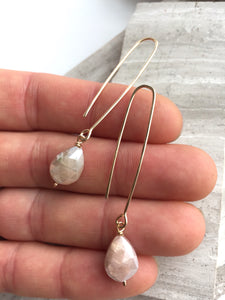 Long hook Earrings — Chocolate Moonstone, in hand