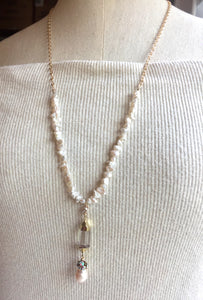 Long Pearl and Quartz Pendant Necklace