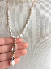 Long Pearl and Quartz Pendant Necklace, in hand
