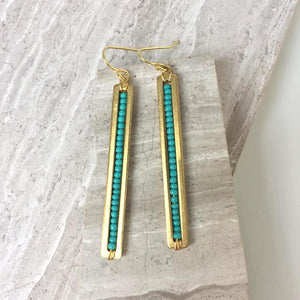 Long gold bar w/ Turquoise Earrings