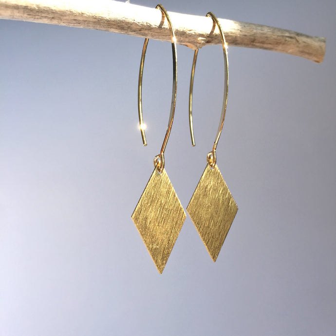 Long hook Gold brushed Diamond Earrings
