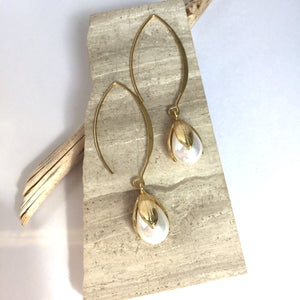 Pearl Tulip drop / Long hook Earrings