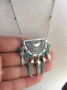 Long Silver Tribal Turquoise Feather Necklace