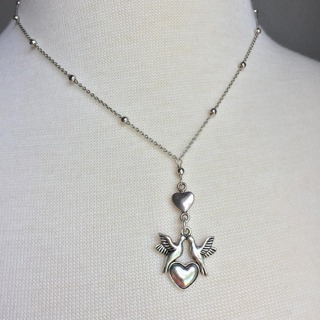 Love Bird Heart Necklace — Silver