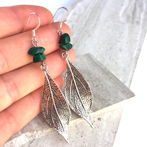 Malachite Gemstone long silver leaf Earrings